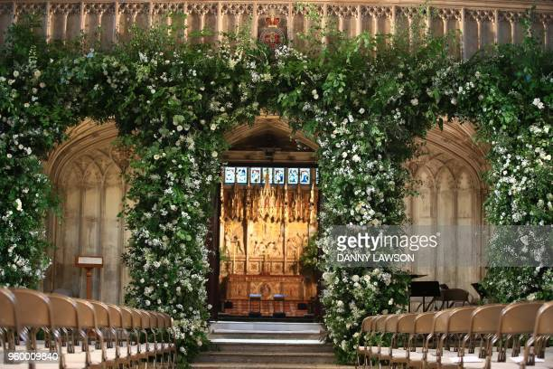 Flowers adorn the front of the organ loft inside St George's Chapel for the wedding ceremony of Britain's Prince Harry and US actress Meghan Markle...