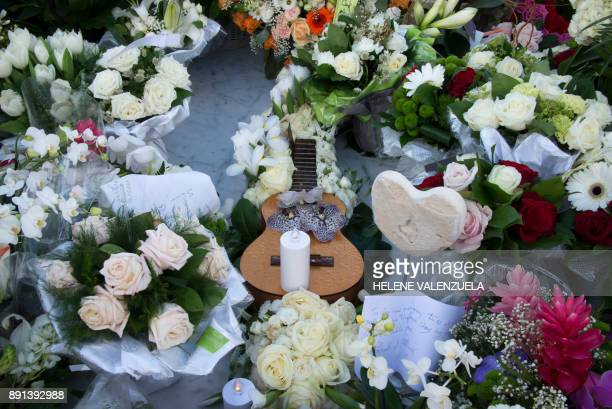 Flowers and a guitar are pictured on the tomb of late French music icon Johnny Hallyday on the French Caribbean island of SaintBarthelemy on December...