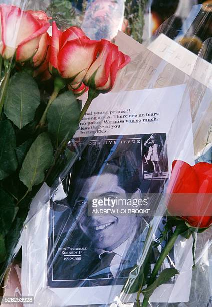 Flowers and a photograph left in front of the Tribecca apartment building where John Fitzgerald Kennedy Jr lived as a display of sympathy after he...