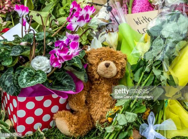 flowers and a teddy bear - gedenkteken stockfoto's en -beelden