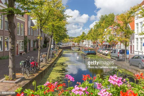 Flowers and canal in Delft