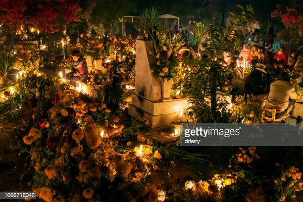 flowers and candles in the cemetery in san agustin etla on the dia de los muertos - dia de muertos stock photos and pictures
