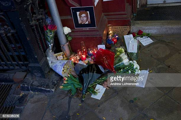 Flowers and candles lie at the entrance of the Chelsea Hotel for a small memorial in memory of the musician and songwriter Leonard Cohen on November...