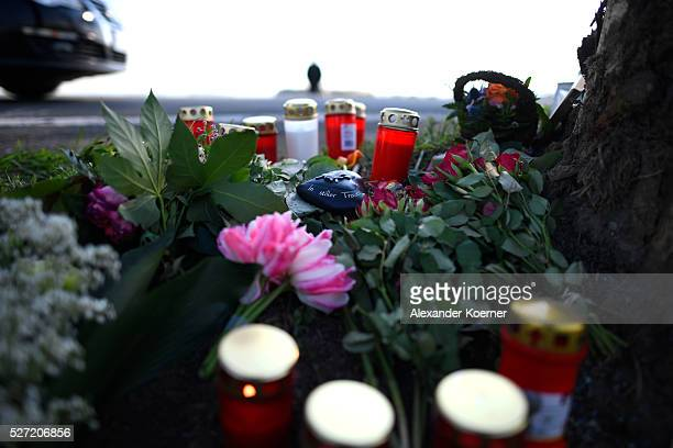 Flowers and candles where laid down at the scene where Niklas Feierabend a youth player of the Bundesliga soccer club Hannover 96 has died is...