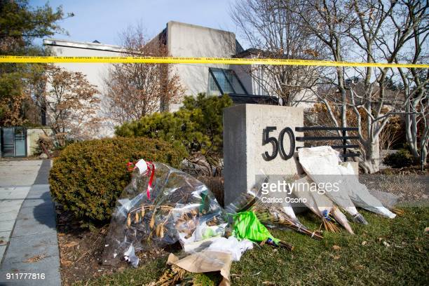 TORONTO ON JANUARY 26 Flowers and cards outside the Sherman home Friday morning Toronto police released the home back to the Sherman family Friday...