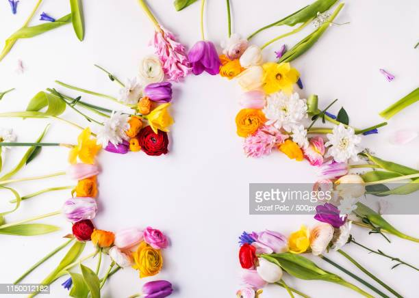 flowers and cross easter abstract concept on a white background copy space - crosses with flowers stock pictures, royalty-free photos & images