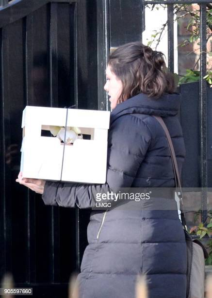 Flowers and Cupcakes get delivered at Kate Moss's home as she celebrates her 44th birthday by heading to a restaurant in Mayfair on January 16 2018...