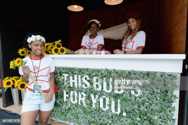 Flowers and flower crowns available in the Bud Block area during the 2017 Budweiser Made in America festival Day 1 at Benjamin Franklin Parkway on...