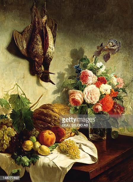Flowers and fruit by Giuseppe Penuti oil on canvas Milano Civiche Raccolte D'Arte Museo Dell'Ottocento Villa Belgiojoso Bonaparte