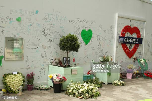 Flowers and messages left by the public adorn the memorial site during the 3rd anniversary of the Grenfell fire Seventytwo people were killed in the...