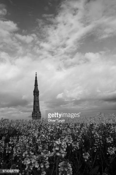 Flowers And Monument Sledmere East Riding Of Yorkshire England Stock