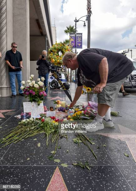 Flowers and notes are placed on the star of Tom Petty on behalf of the Hollywood community by the Hollywood Historic Trust on the Hollywood Walk of...