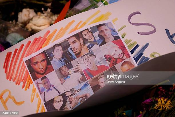 Flowers and photographs for the victims of the Pulse Nightclub shooting lay at a makeshift memorial June 14 2016 in Orlando Florida The shooting...