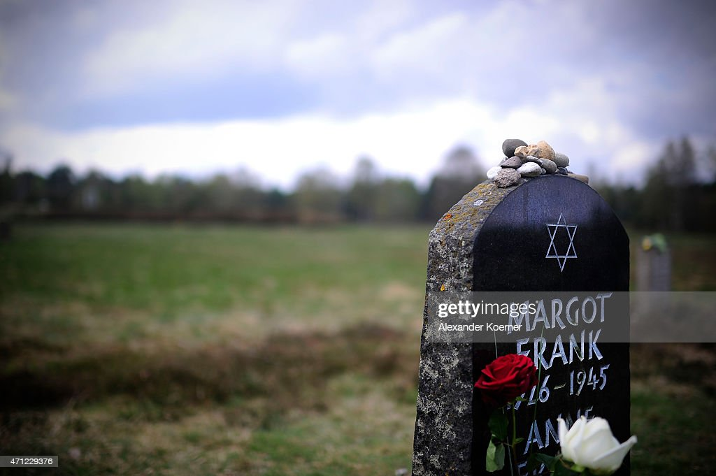 Flowers and stones lay on and in front of the gravestone of Margot Frank and Anne Frank after a ceremony to commemorate the 70th anniversary of the liberation of the Bergen-Belsen concentration camp at the former camp site on April 26, 2015 near Lohheide, Germany. An estimated 70,000 inmates died at the hands of the Nazis at Bergen-Belsen during World War II, including Jews and Soviet prisoners of war. Most famous among the victims is Anne Frank, who died at Bergen-Belsen of typhus shortly before the liberation by British troops in April, 1945.