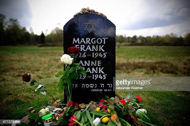 Flowers and stones lay on and in front of the gravestone of Margot Frank and Anne Frank after a ceremony to commemorate the 70th anniversary of the...