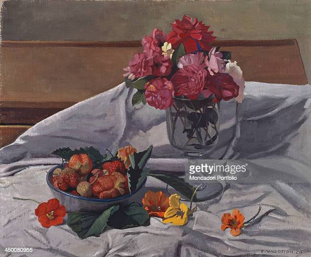 Flowers and Strawberries by Fèlix Vallotton 20th Century oil on canvas 61 x 73 cm