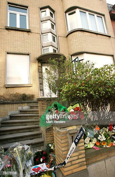 Flowers and toys lay at the entrance of the house of the Mokadem family at the General Jaques Avenue March 2 2007 in Nivelles Belgium The Belgian...