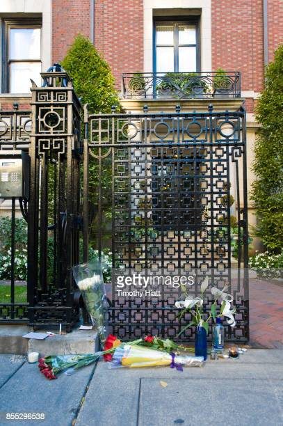 Flowers and tributes are left at the home of Hugh Hefner on September 28 2017 in Chicago Illinois