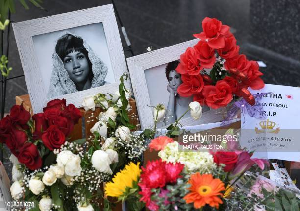 TOPSHOT Flowers and tributes continue to be placed on the star for Aretha Franklin on the Hollywood Walk of Fame in Hollywood California on August 17...