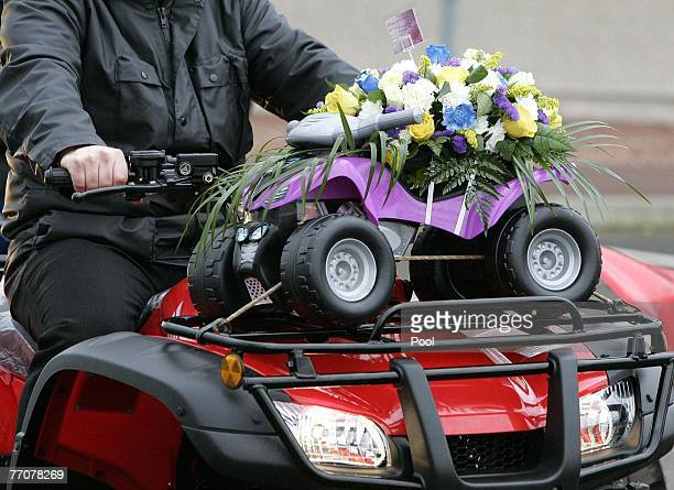 Flowers are delivered at the funeral of former quad bike champion Graeme Duncan on September 28 2007 in Edinburgh Scotland Graeme Duncan died in the...