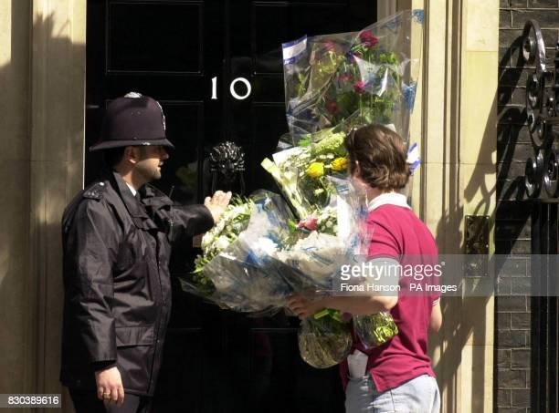 Flowers are delivered to number 10 Downing Street for the Prime Minister Tony Blair and his wife Cherie who is resting after giving birth to a baby...