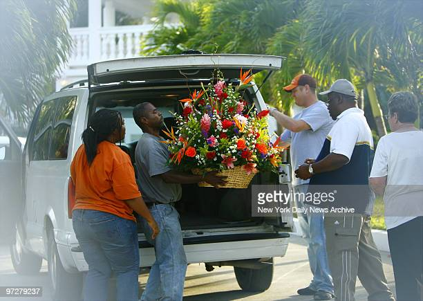 Flowers are delivered to the Nassau mansion of the late Anna Nicole Smith the day before her funeral She will be buried at Lakeview Memorial Gardens...