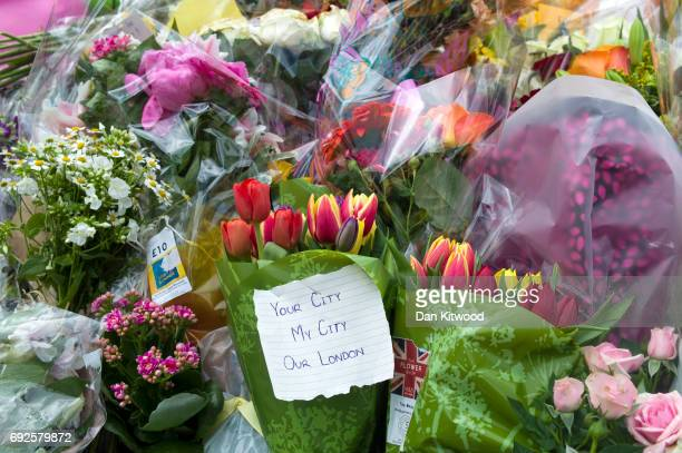 Flowers are laid on the South side of London Bridge close to Borough Market in London in tribute to the victims of the June 3 attacks on June 5 2017...