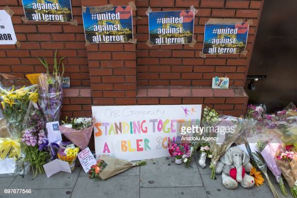 Flowers are laid to the Finsbury Park Mosque after a vehicle mows down Muslim worshippers in London England United Kingdom on June 19 2017