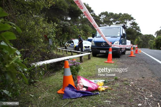 Flowers are left as a tribute to Grace Millane on December 10 2018 in Auckland New Zealand The body of 22yearold Grace Millane was found in a section...