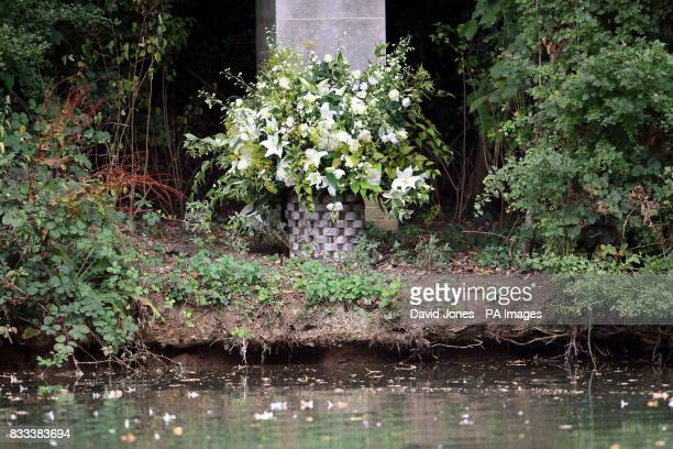 Flowers are left at a tribute laid by the Spencer family is seen at Althorp House Northampton in memory of Diana Princess of Wales on the island...