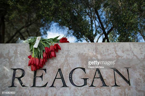 Flowers are left in memory of former first lady Nancy Reagan near the Ronald Reagan Presidential Library and Center for Public Affairs on March 6...