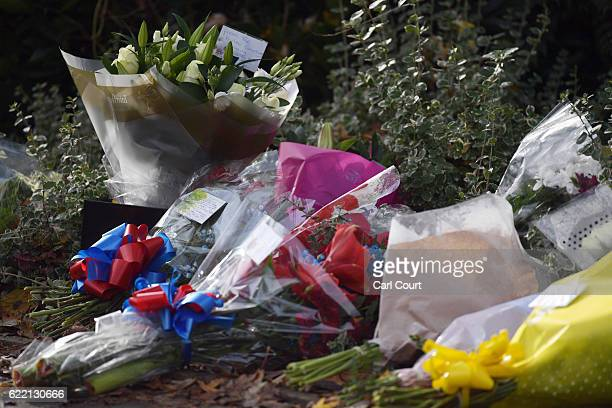 Flowers are left near the scene of a tram crash on November 10 2016 in Croydon England Seven people were killed and more than 50 injured after the...