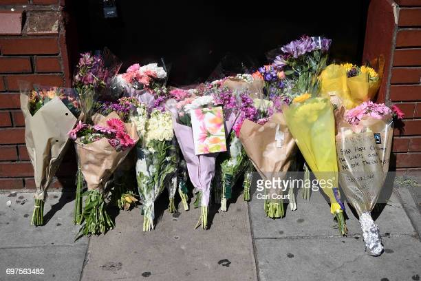 Flowers are left outside Finsbury Park mosque near the scene of a terror attack in Finsbury Park in the early hours of this morning on June 19 2017...