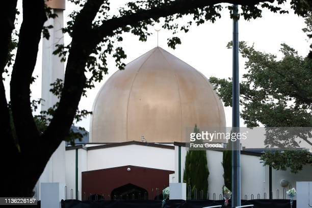 Flowers are left outside the Al Noor mosque on Deans Rd March 17 2019 in Christchurch New Zealand 49 people are confirmed dead with with 36 injured...