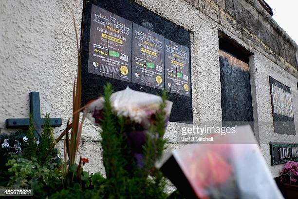 Flowers are left outside the Clutha bar on November 28 2014 in Glasgow ScotlandAs the first year anniversary of the Clutha Vaults approaches it is...