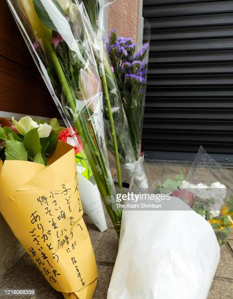 Flowers are offered at home of late comedian Ken Shimura on March 30 2020 in Mitaka Tokyo Japan Popular comedian Shimura died of the novel...