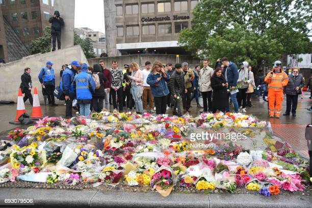 Flowers are pictured at the southside of London Bridge in London on June 6 placed in memory of the victims of the June 3 terror attacks Police on...