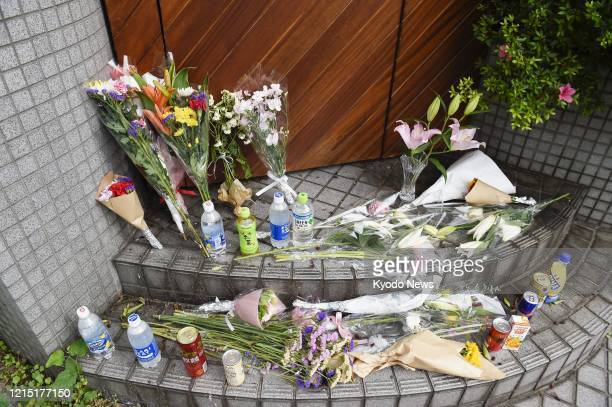 Flowers are placed at a shooting location for the Netflix reality show Terrace House in Tokyo on May 25 2020 Hana Kimura a 22yearold female...