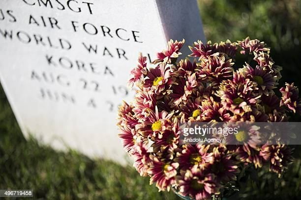 Flowers are placed at a tombstone on Veterans Day at Arlington National Cemetery in Washington USA on November 11 2015