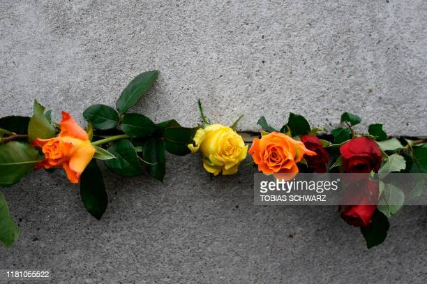 Flowers are placed at the Wall Memorial during the central commemoration ceremony for the 30th anniversary of the fall of the Berlin Wall, on...