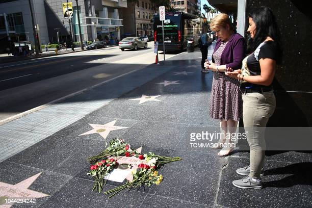 Flowers are placed on musician Charles Aznavour's Star on The Hollywood Walk of Fame on October 01 2018 in Hollywood California The legendary French...