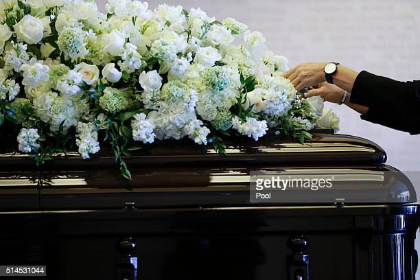 Flowers are placed on the casket of Nancy Reagan at the Ronald Reagan Presidential Library on March 9 2016 in Simi Valley California The former first...