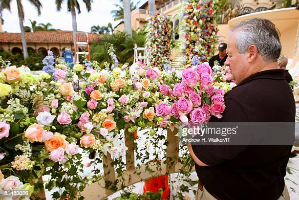 RATES Flowers are prepared for the wedding of Ivana Trump and Rossano Rubicondi at the MaraLago Club on April 12 2008 in Palm Beach Florida Cake...