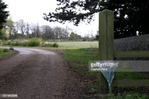 Flowers are seen at the entrance to Wood Farm, former home of Prince Philip, Duke of Edinburgh on the royal Sandringham Estate in Norfolk on April...