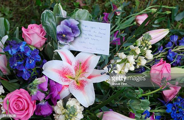 Flowers are seen at the Funeral of Caron Keating following her death from breast cancer last week at Hever Church in Edenbridge on April 20 2004 in...