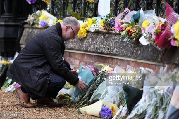 Flowers are seen at the gates to Sandringham House on the royal Sandringham Estate in Norfolk on April 11, 2021 in Sandringham, United Kingdom. The...