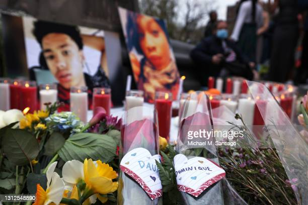 Flowers are seen in a makeshift memorial during a vigil for Daunte Wright and Dominique Lucious at Washington Square Park in Manhattan on April 14,...