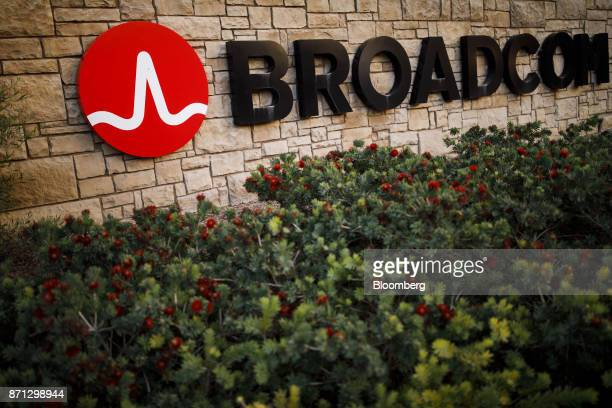Flowers are seen in front of signage displayed outside of Broadcom Ltd headquarters in Irvine California US on Monday Nov 6 2017 Broadcom Ltdand its...