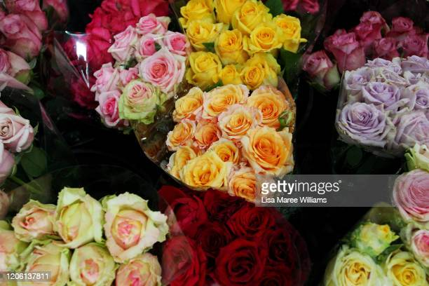 Flowers are seen on display at 'Market Fresh Flowers' in The Rocks during Valentines Day on February 14 2020 in Sydney Australia The 14th of February...