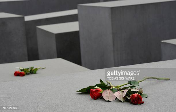 Flowers are seen on the concrete columns of the Holocaust memorial during the international Holocaust Remembrance Day in Berlin on January 27 2016 /...